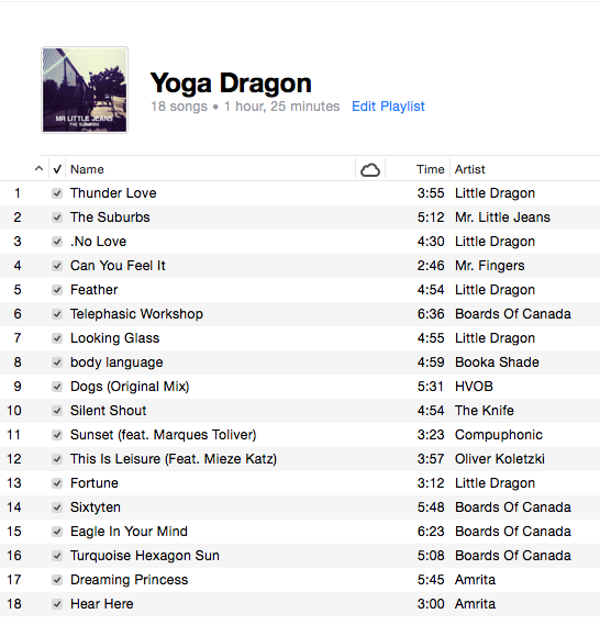 Little Dragon yoga playlist